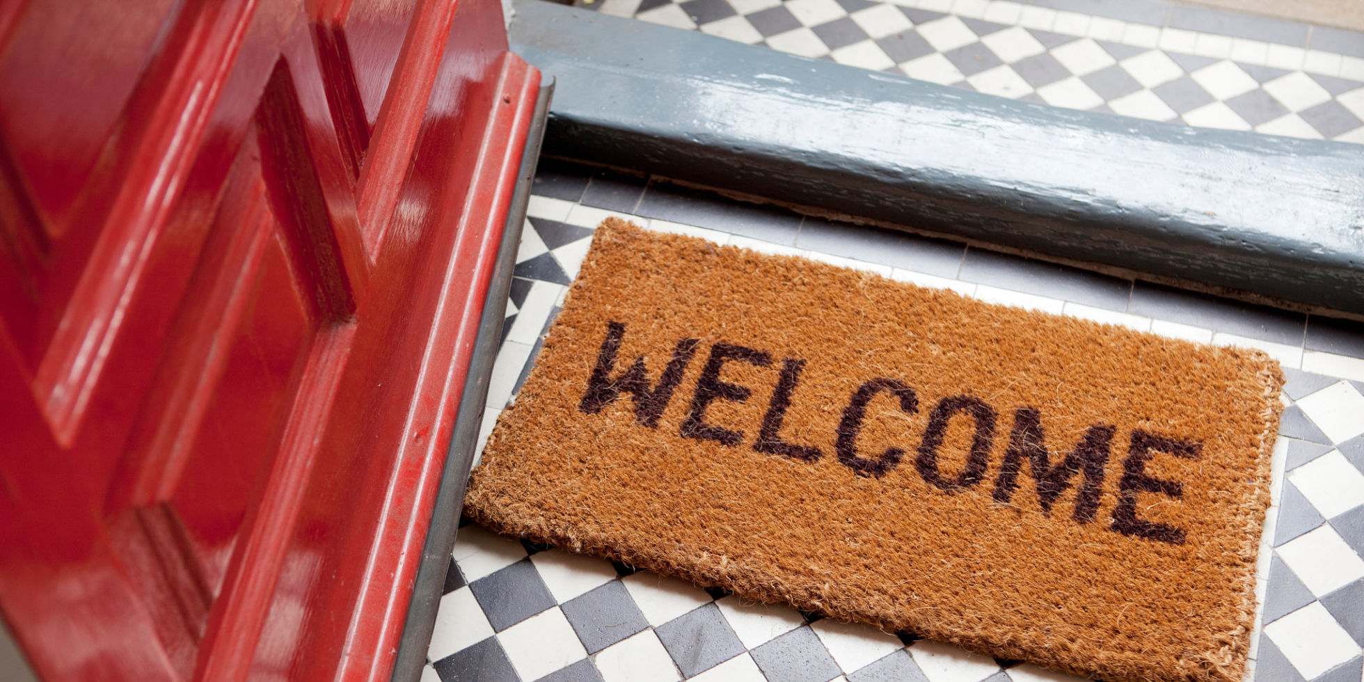 welcome inside, welcome mat